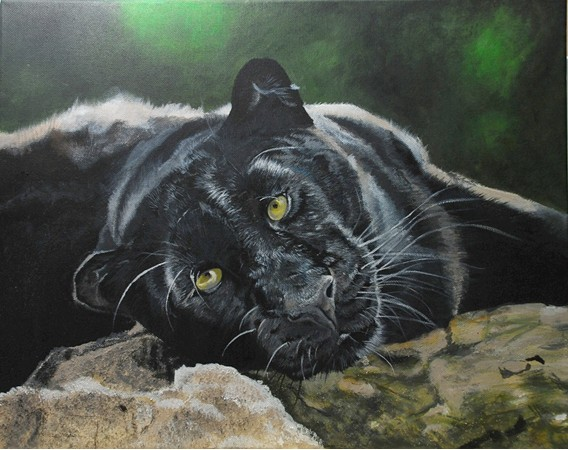 Acrylic painting of a Black Leopardess