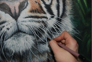 Applying the white whiskers using Acrylic paints on a Coloured pencil portrait of a male sumatran tiger