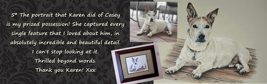 Testimonial from a customer who booked a Coloured pencil portrait of her Jack Russell Casey