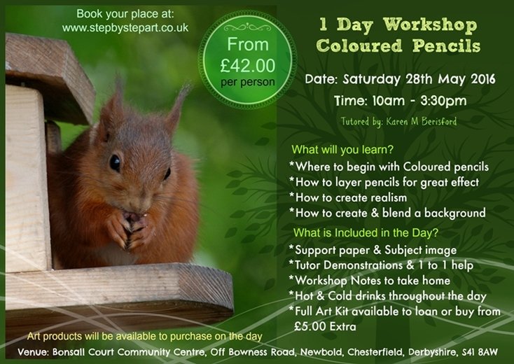 Coloured pencil Art Workshop in Chesterfield, UK of a red Squirrel
