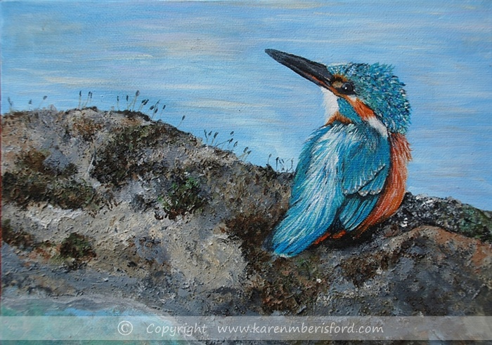 A Kingfisher painted in Acrylics on box canvas