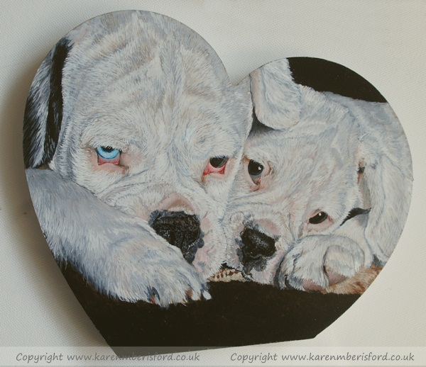 2 White Boxers Silas & Sprout painted in Acrylics on a heart shape MDF