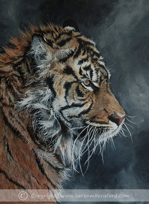 Male sumatran Tiger and dark misty background painted in acrylics on canvas