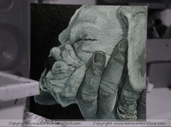 White Boxer pup created in Acrylics on an 8