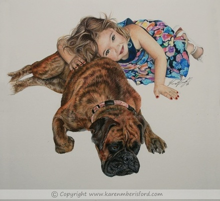 Male Brindle Boxer dog Pet portrait and a little girl in a colourful dress created in Coloured pencils