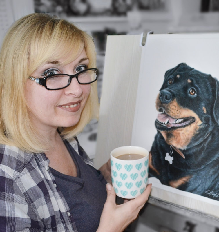 artist Karen M Berisford in her studio and her coloured pencil drawing of a Rottweiler