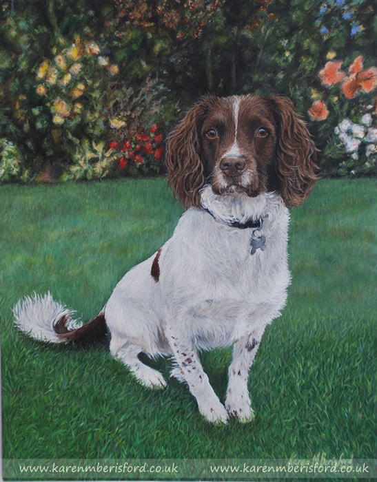 Buddy the springer spaniel dog painted in acrylics on ampersand gessobord