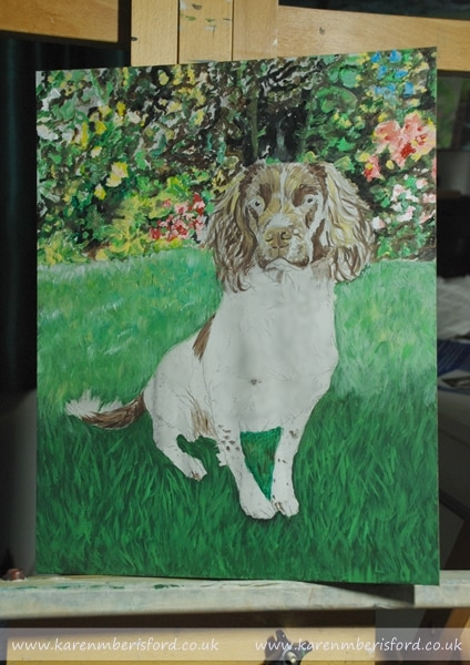 First stages of a Springer Spaniel sat on grass Acrylic painting
