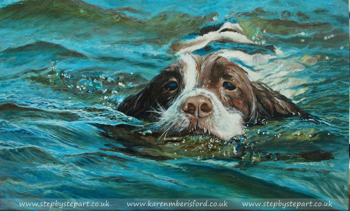 springer spaniel swimming acrylic painting