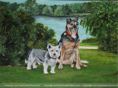 double pet portrait in acrylic paints