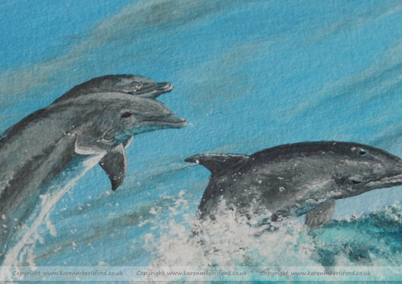Dolphins acrylic painting giclee print for sale