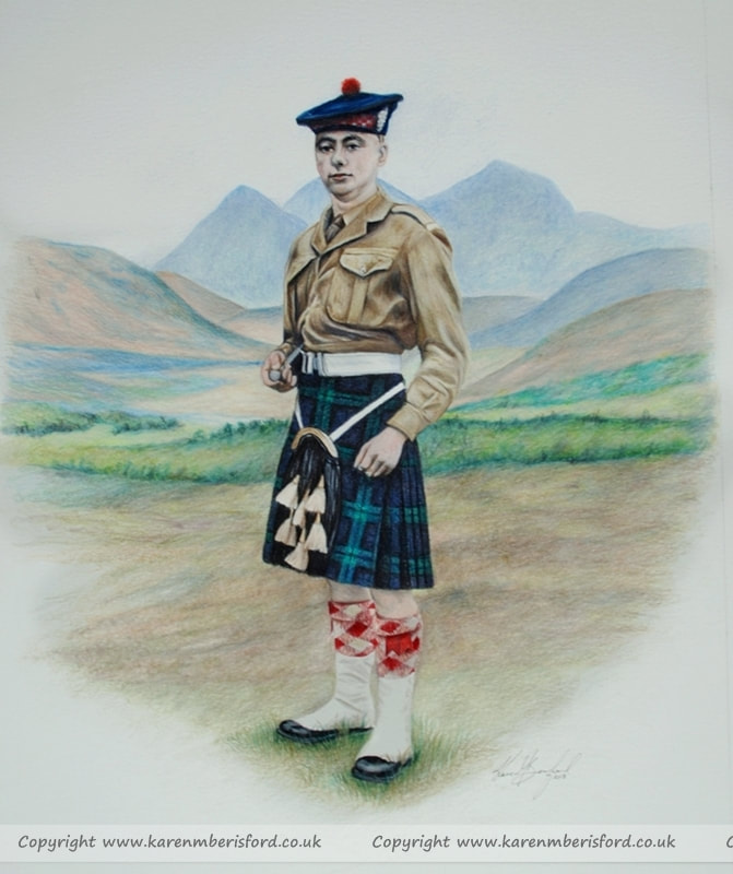 1940's Black watch soldier Coloured pencil drawing
