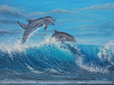 Dolphins frolicking in the waves acrylic painting