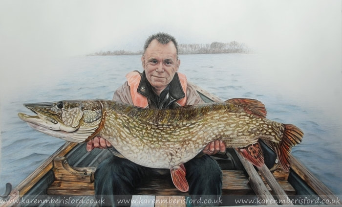 Portraiture and large pike fish Coloured pencil drawing
