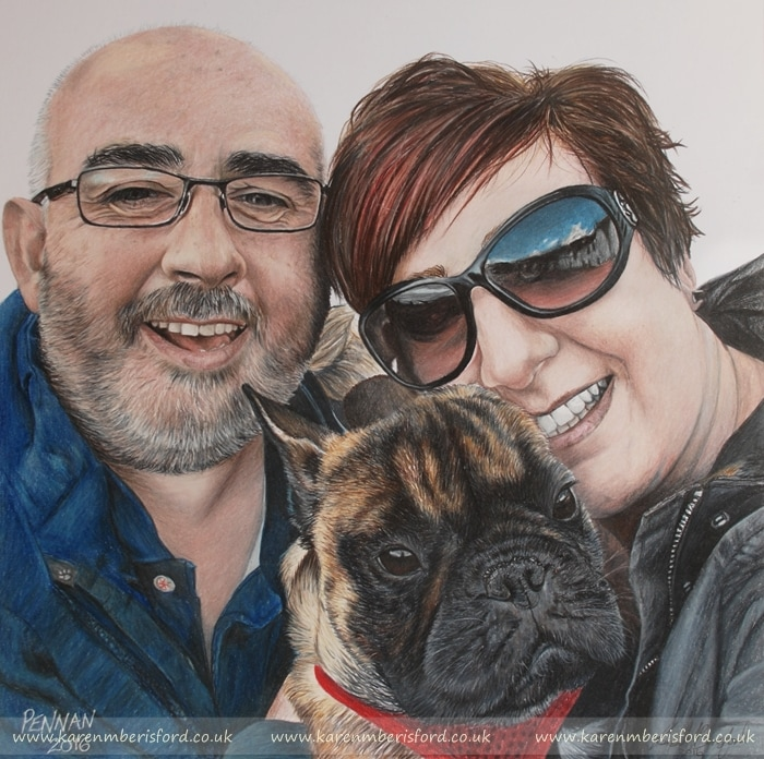 Highly detailed Coloured pencil portrait of a man and his girlfriend with their French Bulldog