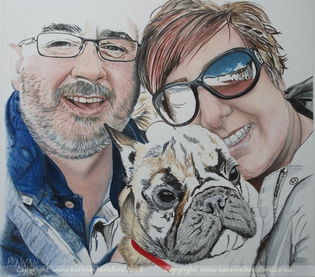 Progress of a coloured pencil portrait of a couple and their french Bulldog