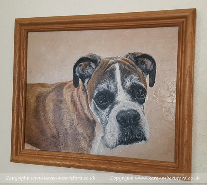 Boxer dog acrylic painting framed in a teak frame