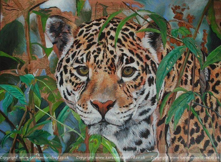 Acrylic painting of a Jaguar on a 12