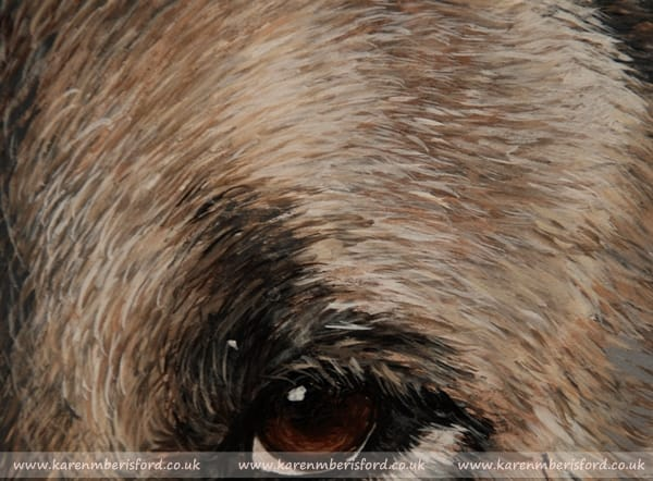fur detail in an acrylic painting of a Japanese Akita