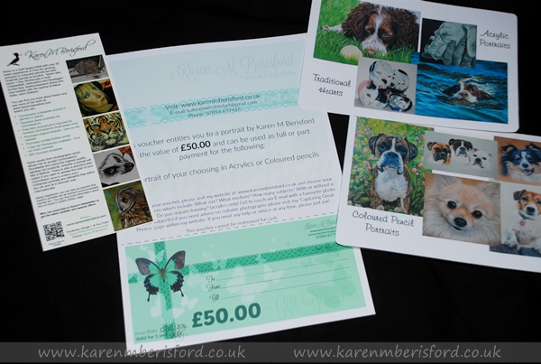 Gift Voucher for a pet portrait and artist literature for mediums