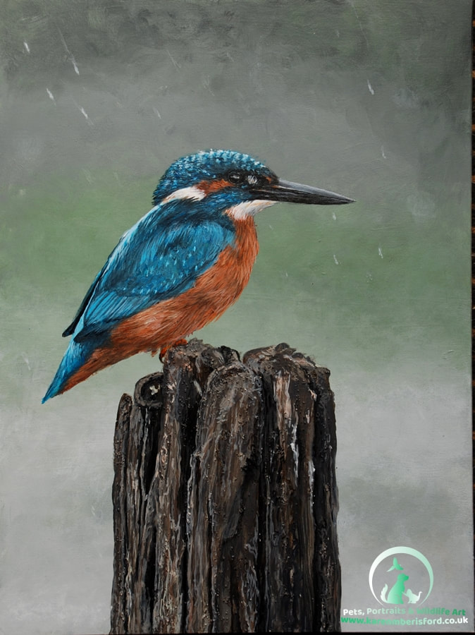 Acrylic painting of a Kingfisher on a wooden post