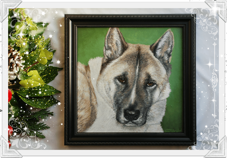 Acrylic painting of a Japanese Akita in a black frame and green background next to a christmas wreath
