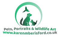 Karen M Berisford pets, portraits and wildlife art website logo dark