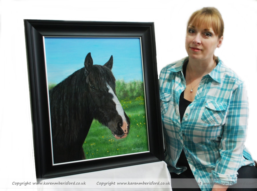 Artist with Dark bay horse acrylic painting framed in saltergate silver frame