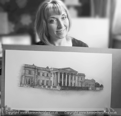 Artist Karen M Berisford holding her Graphite pencil portrait of Wynyard Hall