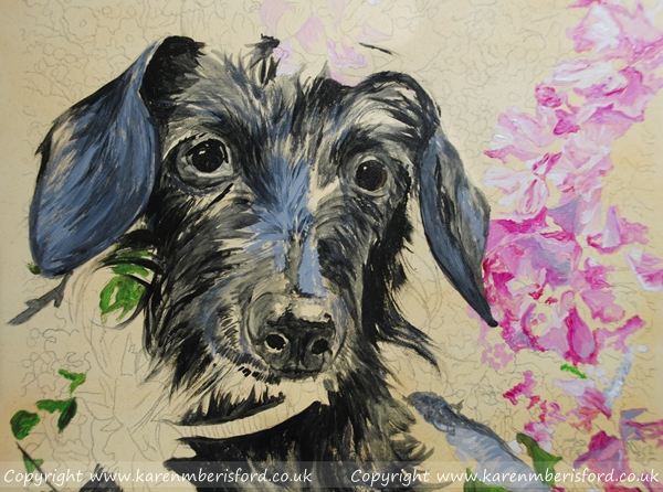 acrylic paints layering of a daschund pet portrait on gessobord