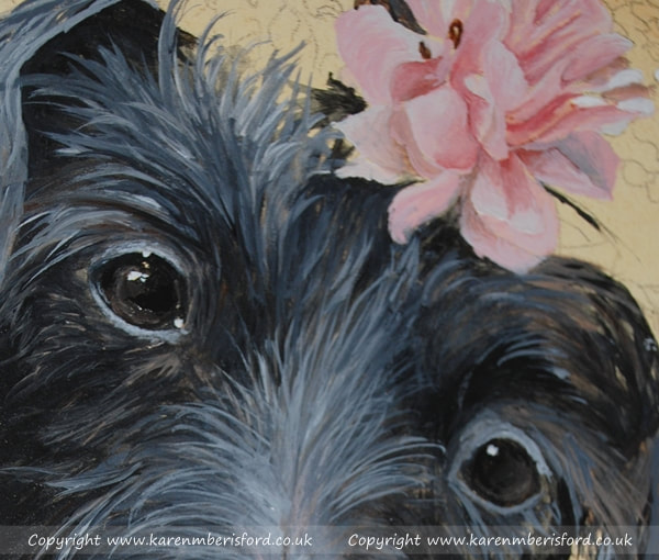 details of an acrylic painting of a black daschund dog on ampersand gessobord