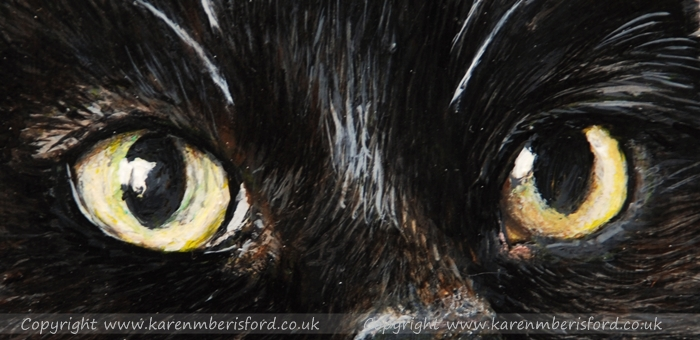 Close up details of the yellow eyes of a black cat acrylic painting