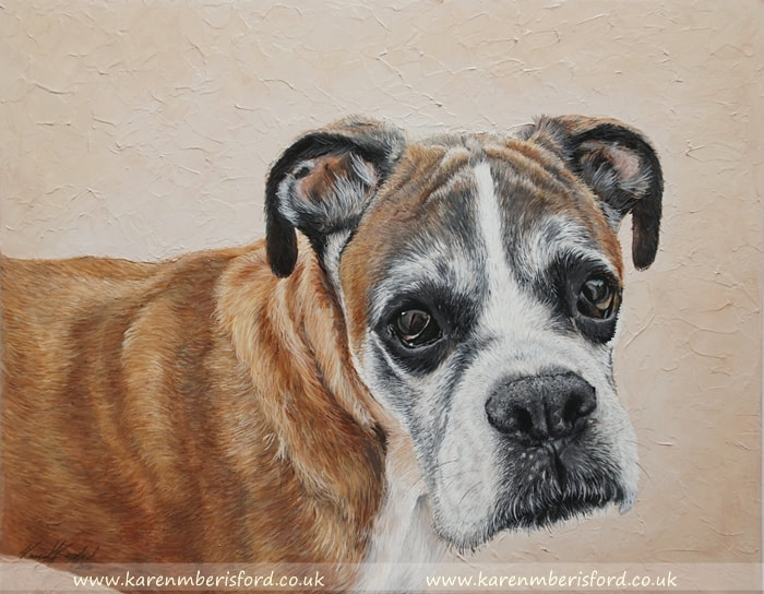 Boxer dog acrylic painting