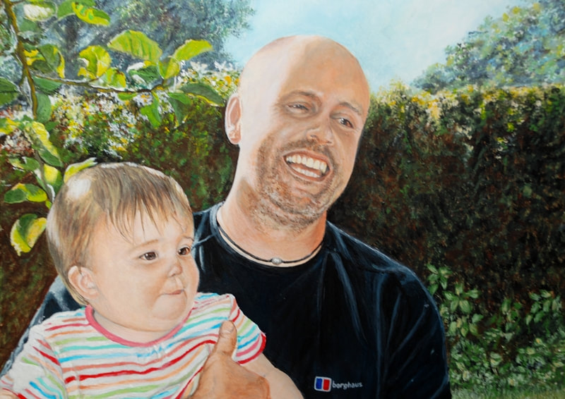 Acrylic painting of a baby and uncle in a garden