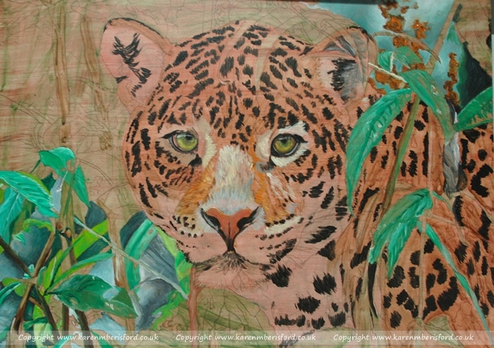 Early progress of a jaguar in Acrylics on Ampersand Gessobord