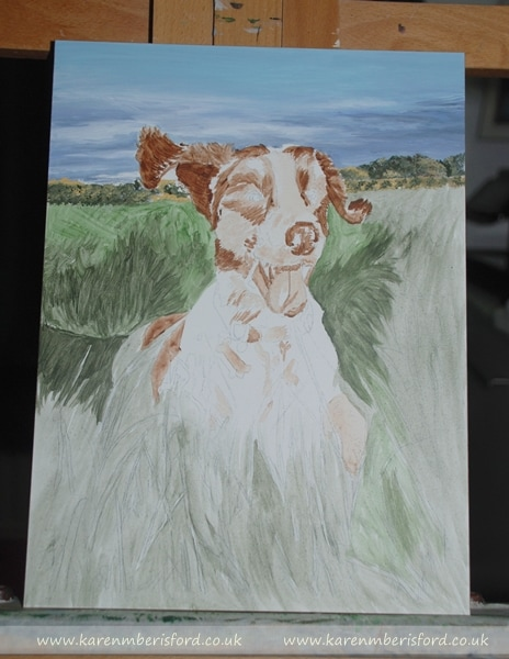 Base layers of a springer spaniel acrylic painting