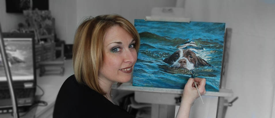 UK Artist Karen M Berisford working on an Acrylic painting depicting a Springer Spaniel swimming in water