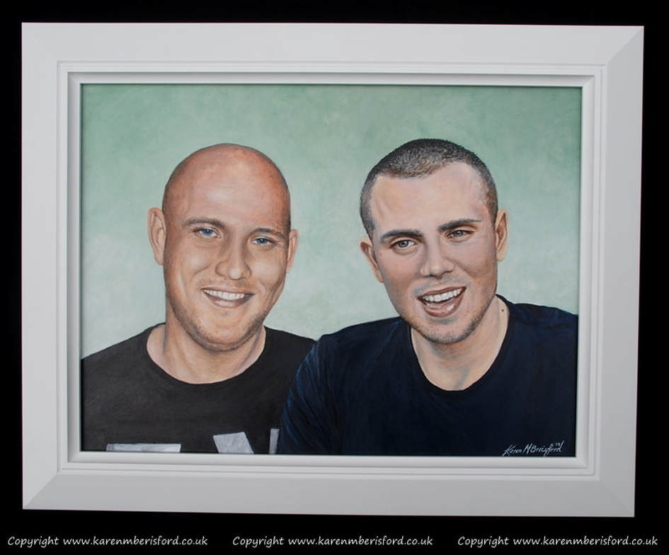 Acrylic painting of 2 brothers framed in a Black & Silver frame | Springfield moulding