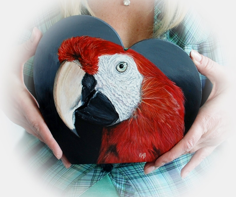 Scarlet Macaw acrylic painting on an MDF shaped heart