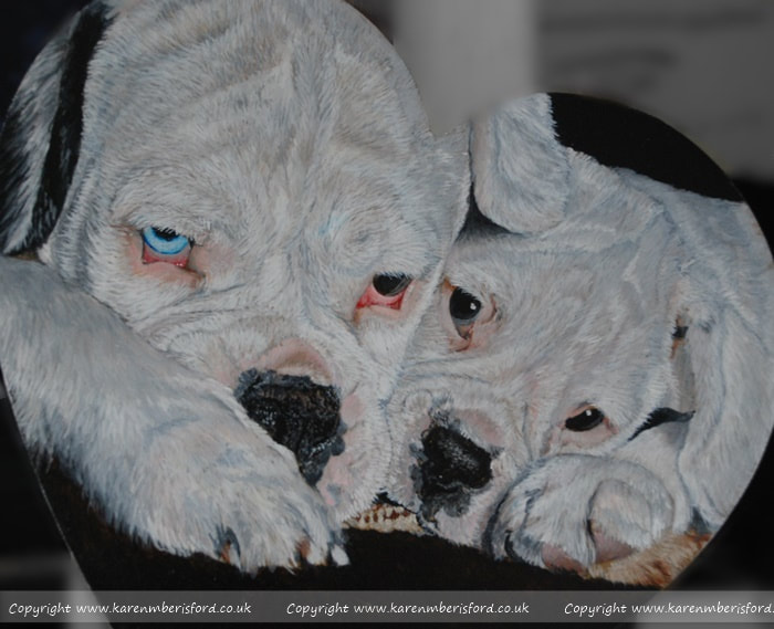 white boxer dog and pup in acrylic paints