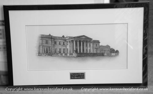 A framed portrait of a Graphite drawing of Wynyard Hall