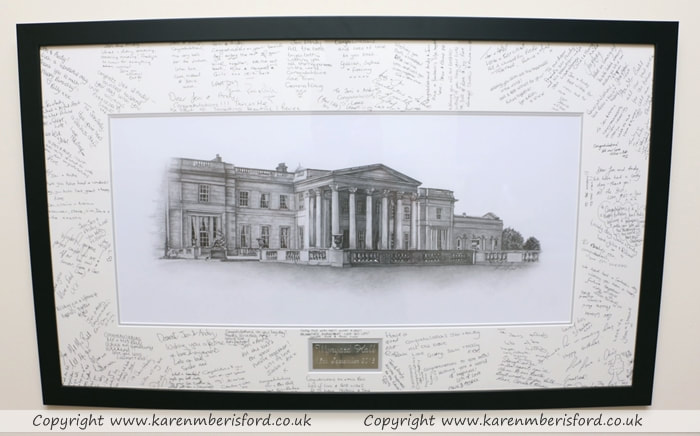 Wynyard Hall Graphite Artwork created for a couple's wedding day and framed in a shiny black frame with a silver plaque