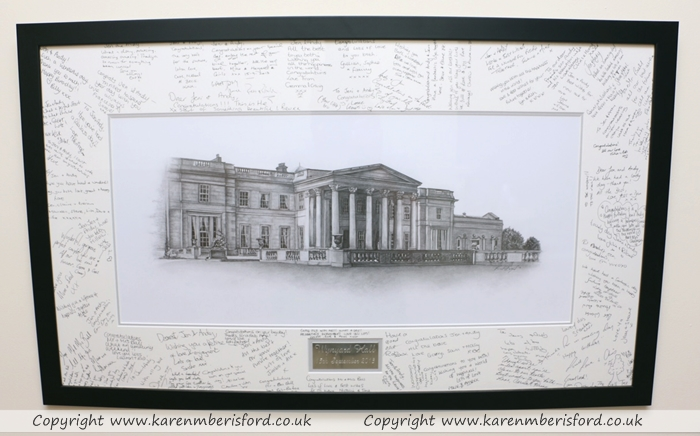 Wynyard Hall graphite portrait with a black frame and wedding guest signatures added to the mount